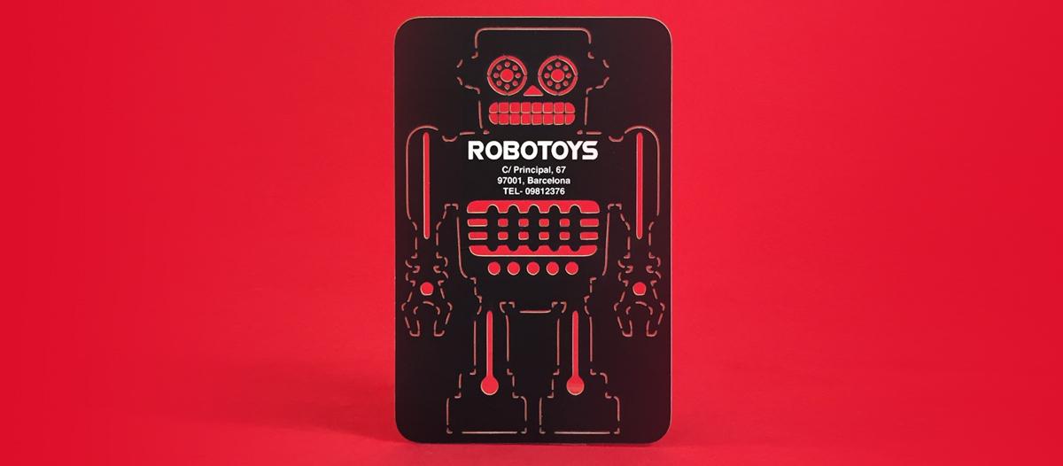 Tarjetas de visita con forma troquelada interior de robot