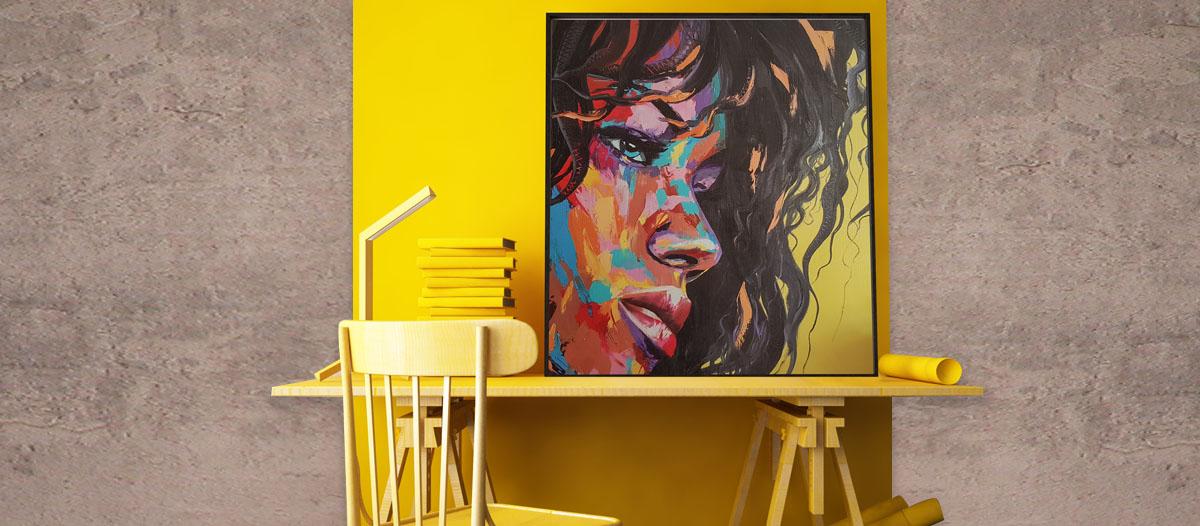 cuadro con una imagen impresa en Kapatex, que simula ser un lienzo aunque no lo es.