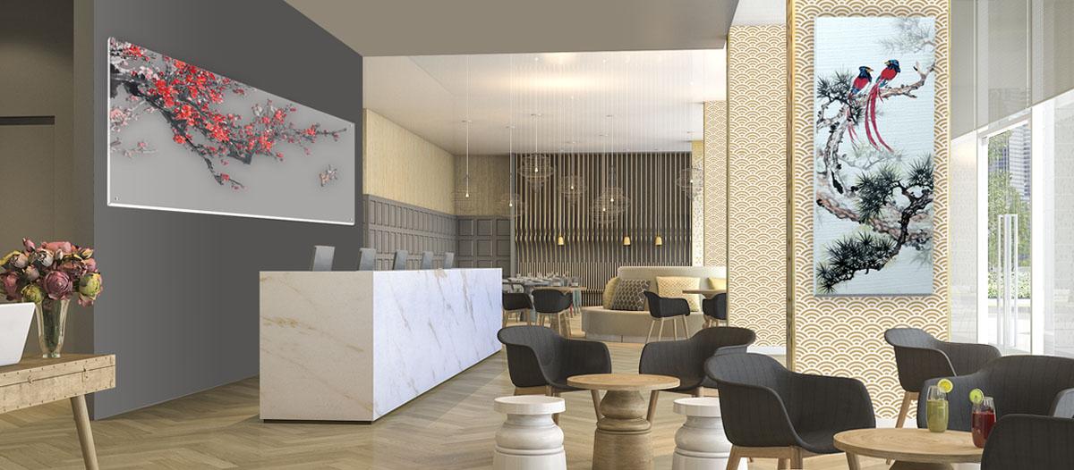salón decorado con cuadros impresos con tecnología digital en soportes como lienzo mate torino.