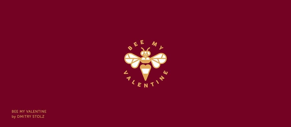 """Logo """"Bee my Valentine"""", diseñado por Dmitry Stolz, de la comunidad de diseño Logobaker, con motivo de San Valentín, en el que aparece una abeja"""