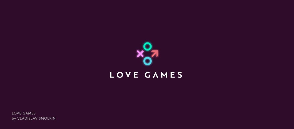 """Logo """"Love games"""", diseñado por Vladislav Smolkin, de la comunidad de diseño Logobaker, en el que se ven cuatro de las teclas del mando de una videoconsola"""