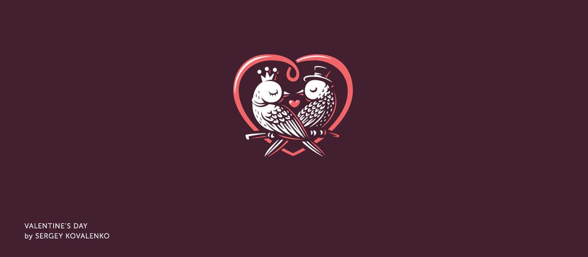 Logo diseñado por Sergey Kovalenko, de la comunidad de diseño de Logobaker, en el que aparece una pareja de pájaros dentro de un corazón