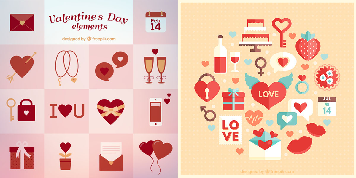 Vectores gráficos que se pueden descargar, diseñados con motivos de San Valentín (elementos gráficos con forma de corazón: globos, candados, etc.)