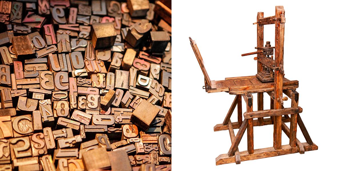 La aportación de Gutenberg a la imprenta moderna fue principalmente una prensa adaptada de la utilizada para el vino y los tipos móviles.