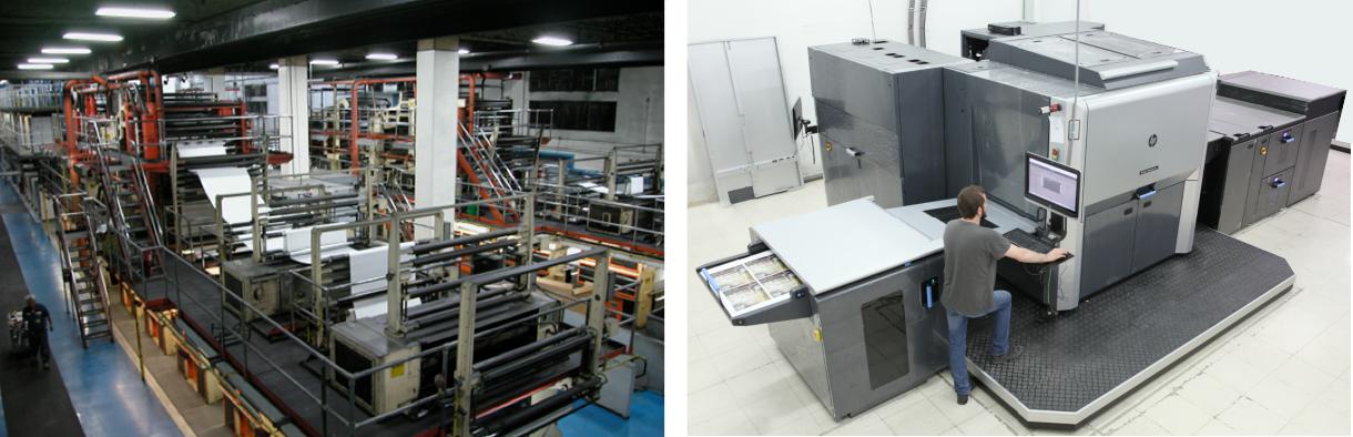 Prensas de impresión offset e impresión digital