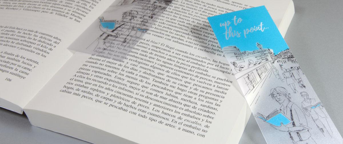 Marcapáginas transparente impreso en tinta blanca - soporte PVC especial para cubiertas - Truyol Digital