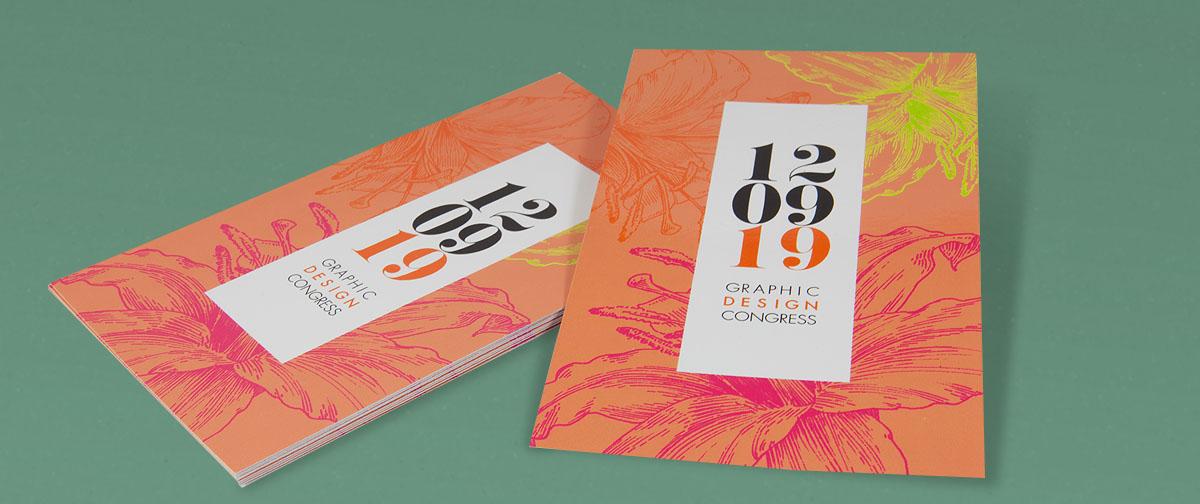 Diseño de invitación para un evento con motivos florales - impresa por Truyol Digital