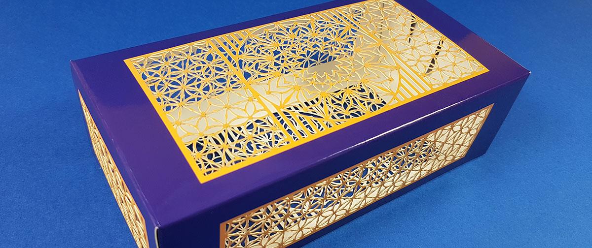 Caja con troquel láser ultra hd realizada con la prensa digital de corte y hendido Highcon Euclid IIIS - Truyol Digital