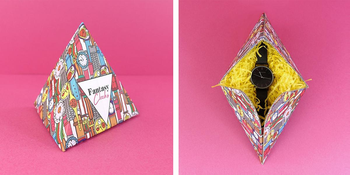 Entre las plantillas de cajas promocionales se encuentran cajas tan originales como esta piramidal, pensada para una firma juvenil de relojería e impresa a todo color sobre soporte de cartón corrugado en blanco.