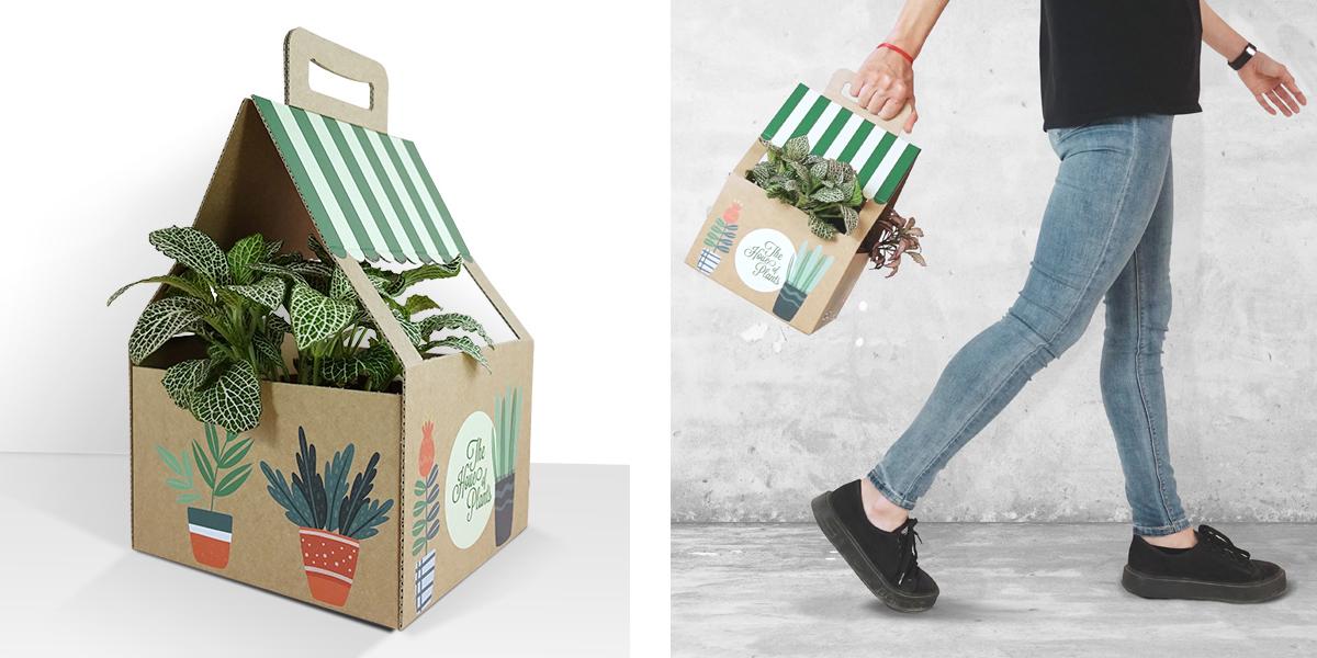 Packaging para el transporte de plantas con forma de asa, diseñado a partir de una plantilla original e impreso de forma sostenible en la prensa híbrida HP Latex R2000    sobre soporte de cartón corrugado de color kraft.